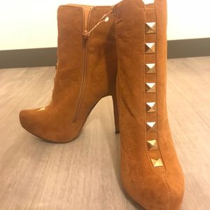 JustFab Brown Suede Booties with Gold Studs